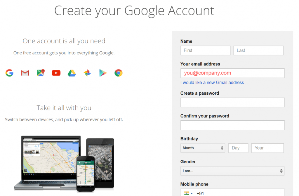 Signup Google Without Gmail