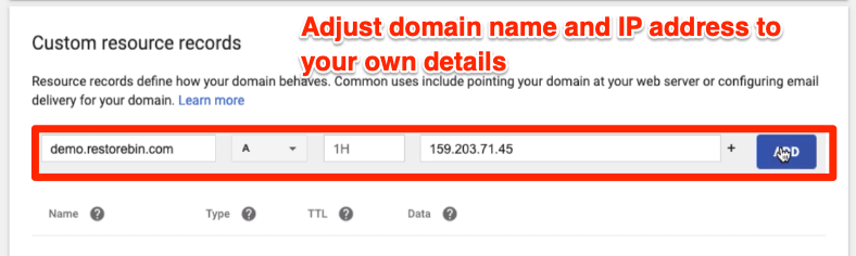 Adding A Type records in DNS Settings for point domain name to IP Address