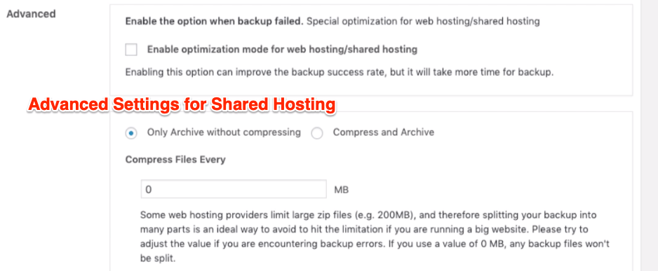 Advanced Settings for Shared Hosting