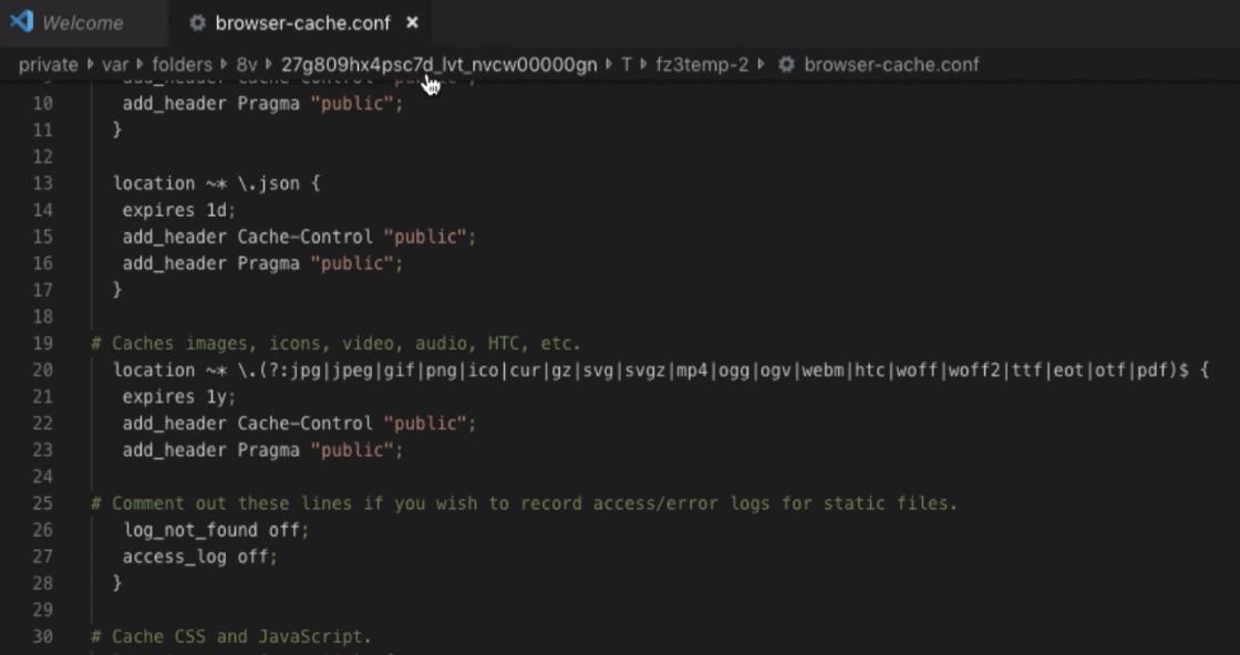 Create Browser Cache Configuration file