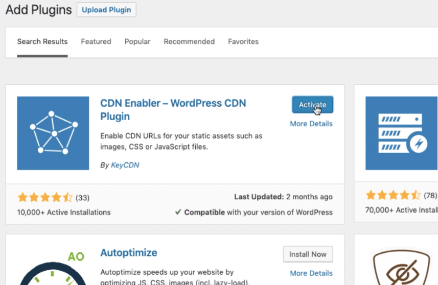 CDN Enabler WordPress Plugin Activate