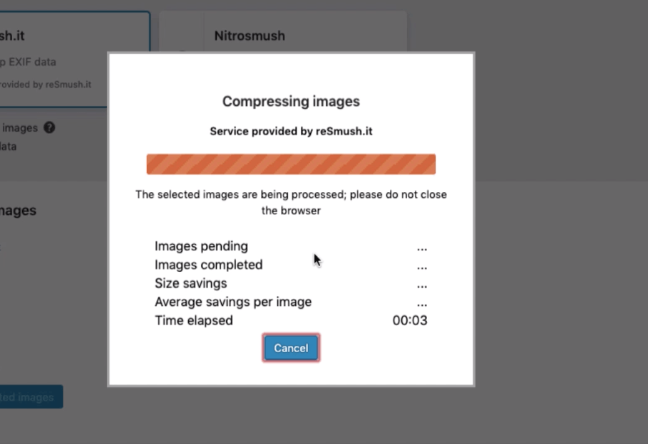 Compressing images using WP-Optimize
