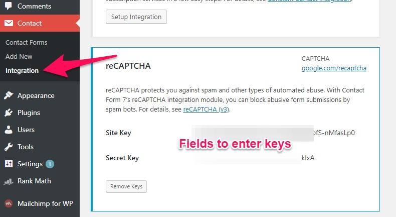 Contact Form 7 integration with Google reCAPTCHA