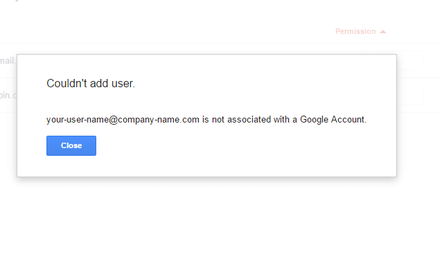 Couldn't Add User Not Associated With Google Account