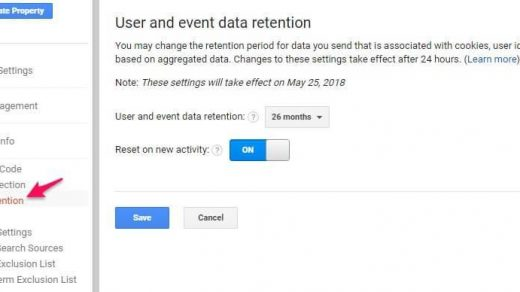 User and Event Data Retention: Set up for Google Analytics 3