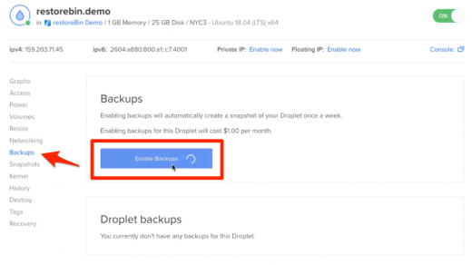 Enable Weekly DO Droplet Backups and Create Snapshot Image 1