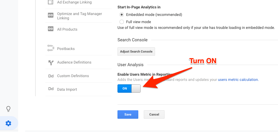 Enable Users Metric in Reporting Google Analytics