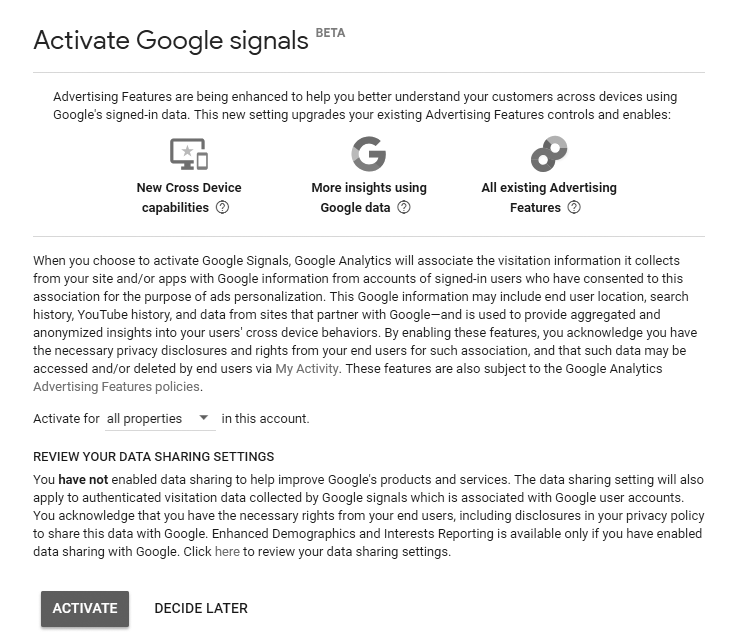 Final Activate Google Signals
