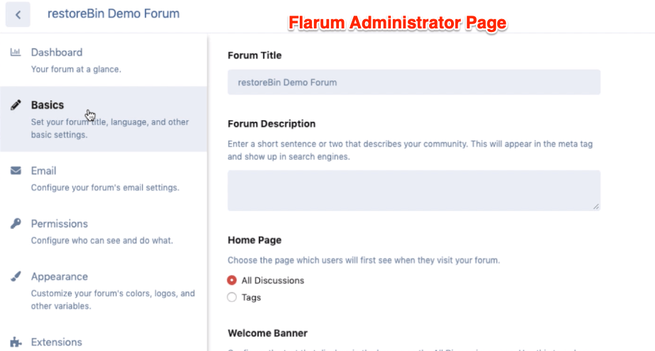 Flarum Administrator Page for new installation