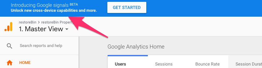 Google Signals BETA Bar Analytics