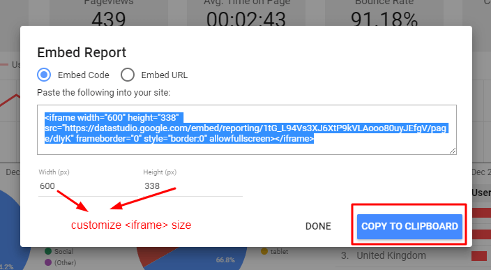 Google Data Studio Embed Width Height Snippet