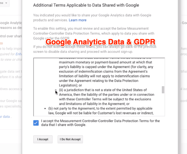 Google Analytics Data and GDPR Terms and Conditions