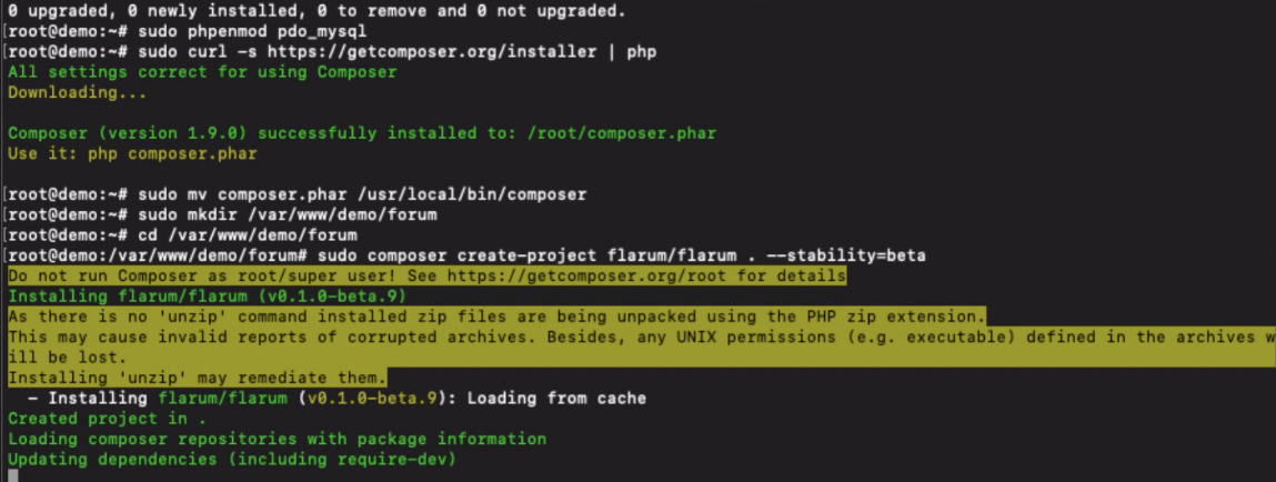Install Flarum on LEMP using Composer