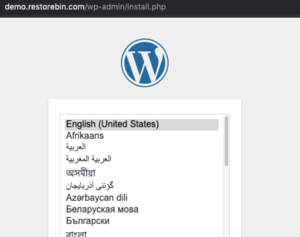 Install WordPress - Language Selection