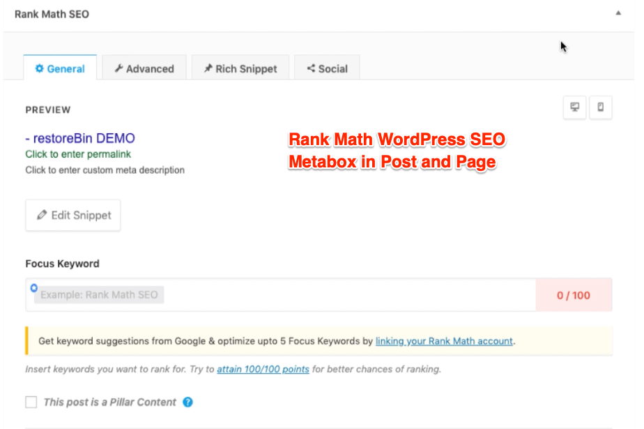 Rank Math WordPress SEO Metabox in Post and Page
