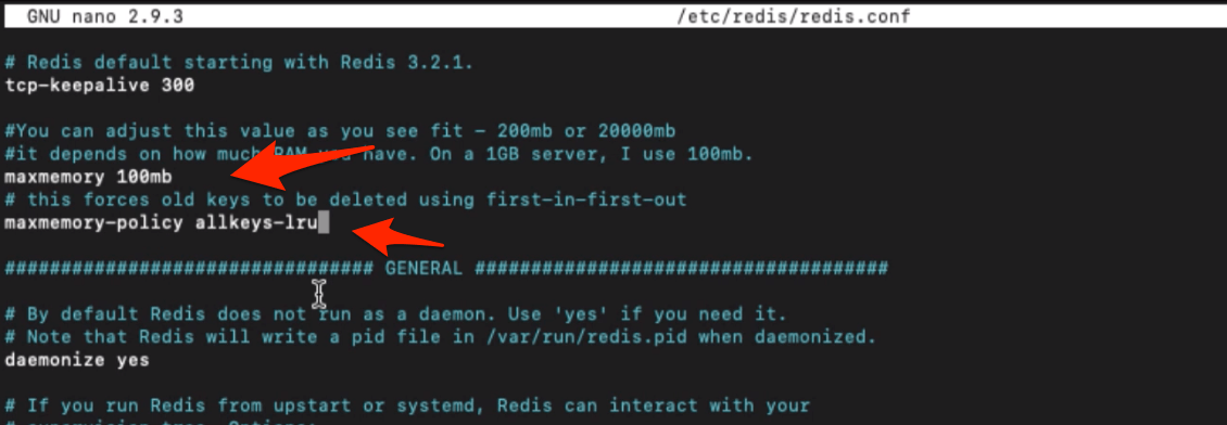 Setting maxmemory and allkeys-lru in redis.conf file