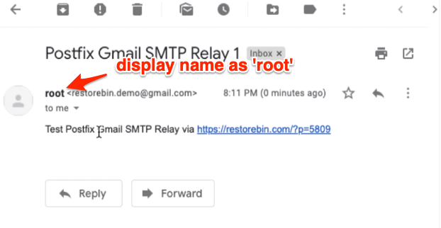 Test Email received from root display name Postfix SMTP