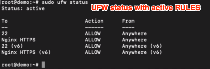 UFW Status with Active Rules