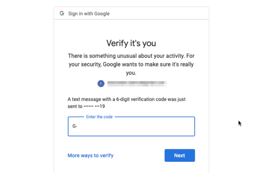 Verify Google Account with OTP on Mobile