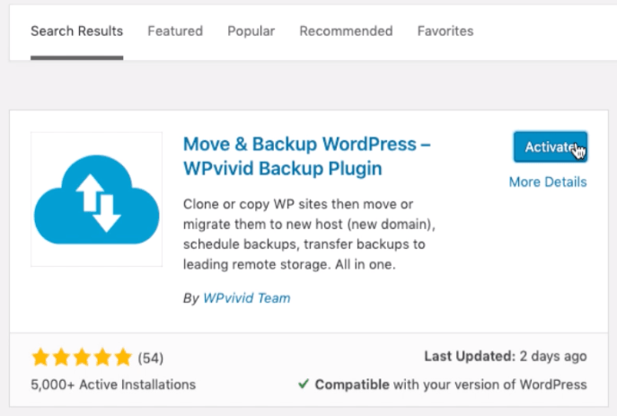 WPvivid Backup plugin activation in WordPress