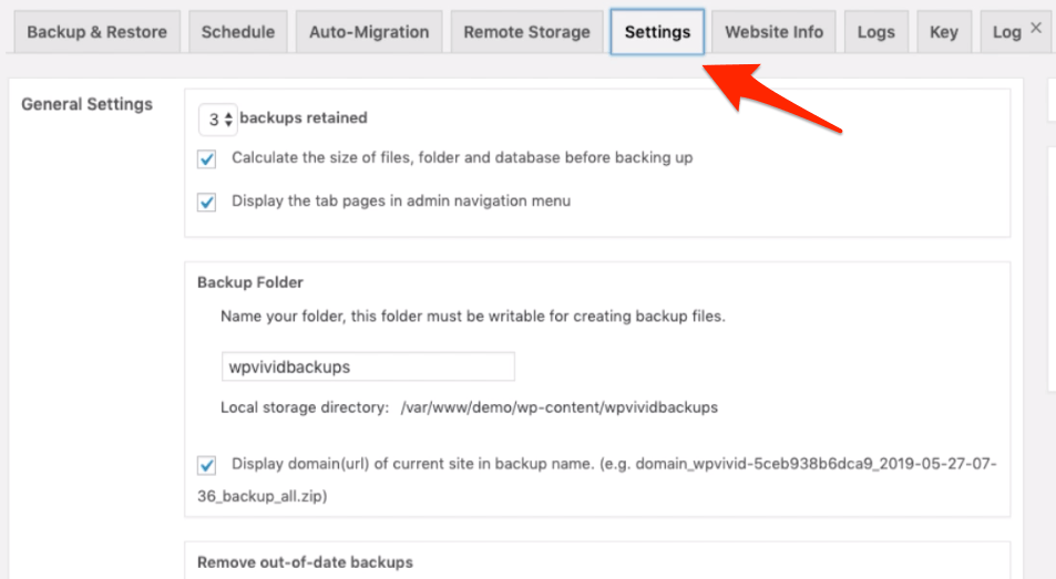 WPvivid backup plugin additional settings