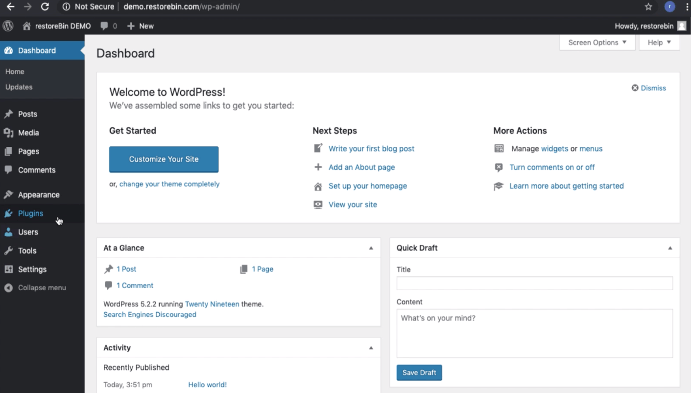 WordPress Dashboard - First Time Login after Installation