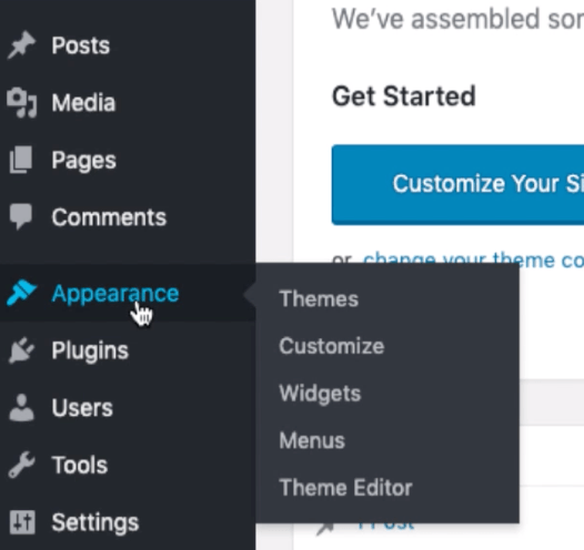 WordPress Dashboard Appearance Menu