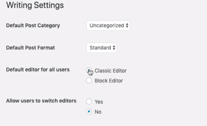 Writing Settings - Classic and Block Editor