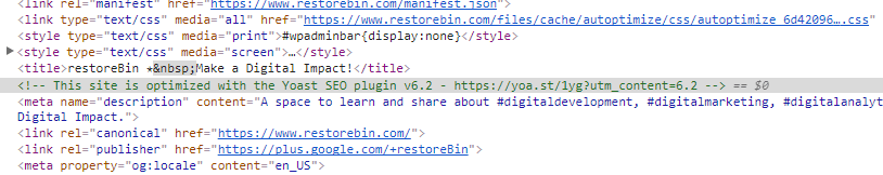Yoast SEO comment text in HTML