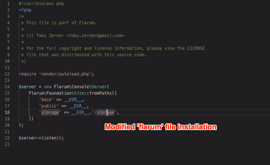 modified Flarum file in installation
