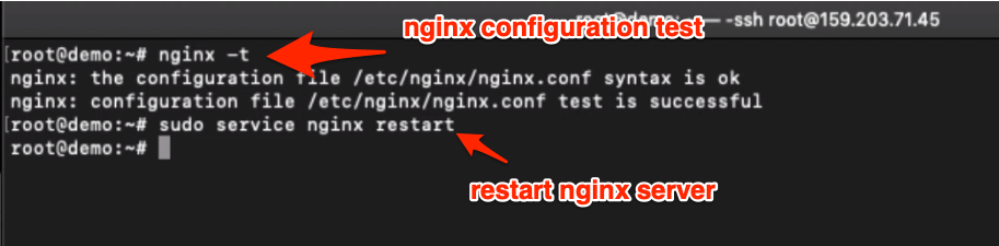 nginx configuration test and restart web server