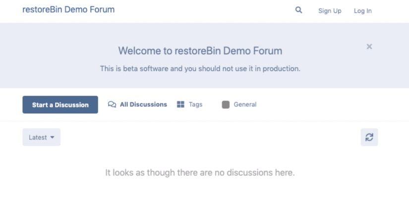 restoreBin Demo Flarum Installation