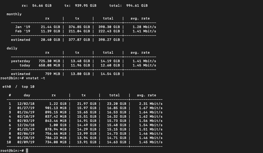 vnstat command for server bandwidth and traffic monitor